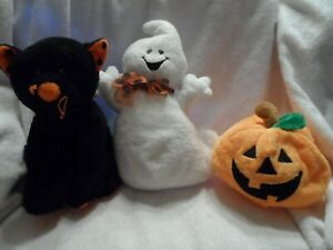 Lot of 3 Ty Halloween beanie buddy plush - pumpkin, black cat, ghost
