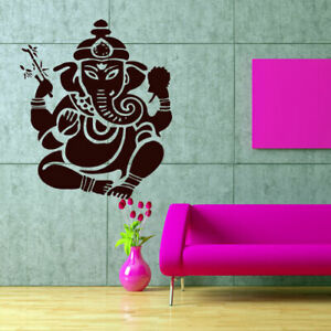 Wall Decal Elephant Ganesh Buddhism India Indian Namaste Buddha Om Yoga God M89