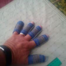 9 Finger Guard Beige Split Leather Size M Fingers Coverage Open Tip Style