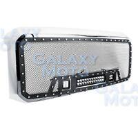 08-10 Ford Super Duty Rivet Black SS Mesh Grille+Chrome Shell+LED+LED Light Bar