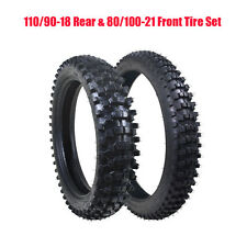 Front & Rear Tire Set 80/100-21 & 110/90-18 Tyres with Tubes for Dirt Bike Motor