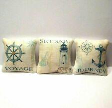 3 Miniature Decorative Pillows Dollhouse Diggs Beach Cottage Anchor Lighthouse