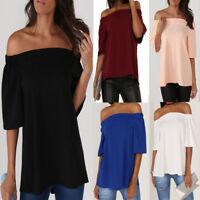 Womens Off Shoulder Bandeau T Shirt Top Casual Halterneck 3/4 Sleeve Lady Blouse
