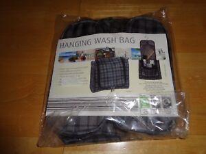 NEW & SEALED STYLISH HANGING WASH/TOILETRY BAG BLACK/GREY FREE POST!!!!      KL