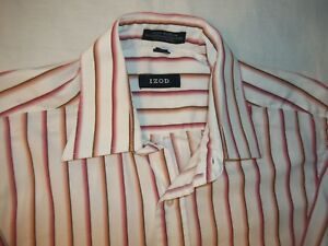 Izod Dress Shirt Adult 15.5 34/35 Button-Up Long Sleeve Men's Red Orange Striped