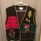 Simply Petites Womens Sweater Vest Size Small Black Ugly Sweater Christmas