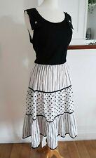 Vintage Miss Oops California Dress M 12 80s Stripe Polka Dot Black White Maxi