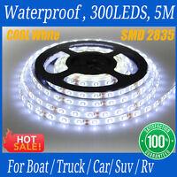 Waterproof 5M 3528 SMD 300 LED Flexible 12V Strip Lights Car Boat Suv Cool White