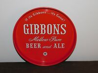 "VINTAGE BAR 11 3/4"" ACROSS GIBBONS BEER & ALE METAL SERVING TRAY"