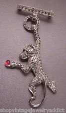 RARE VTG Clear Pave Rhinestone Monkey Dangle Brooch Pin Figural 1937 Mazer