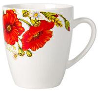 Porcelain Mug with Poppies Flowers Print Made in Russia 12 fl oz Coffee Tea Mug