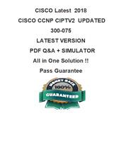 Cisco CCNP Collaboration CIPTV2 Exam Dump 300-075 Q&A PDF & VCE Simulator (2018)