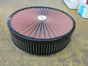"""Super Flow 14"""" x 3"""" Red Black Chrome Air Cleaner Holley Q-Jet 5 1/8"""" Hole (New)"""