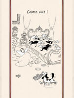 Torchons & Bouchons French Dog Cats DUBOUT Art Kitchen COURTE NUIT Towel New $21