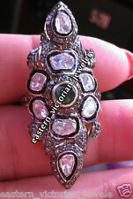 Studded Silver Victorian Ring Jewelry 2.58Cts Rose Antique Cut Diamond Emerald