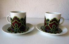 Arabia Finland Vintage Melina Espresso Cups + Saucers (2)  Excellent Condition