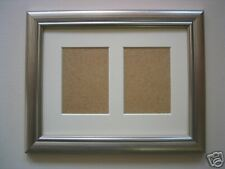 Silver ACEO card double picture frame 3.5 x 2.5 IVORY mount