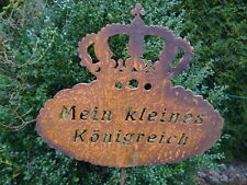 """Gartenstecker Krone """"Mein kleines Königreich"""" aus Metall, Rost Gartendeko"""