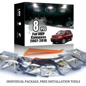 8x for 2007-2016 JEEP Compass White Interior LED Light Kit + License Plate Light