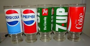 LOT (5) VINTAGE PEPSI 7UP  COCA COLA 12 FL OUNCE FOOTED TUMBLER GLASSES