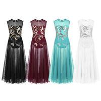 UK Girls Lyrical Dance Dress Floral Sequins Tank Ballet Leotard Skirt Dancewear
