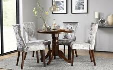 Kingston Round Dark Wood Dining Table & 4 Bewley Silver Velvet Chairs Set