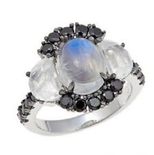 Rarities: Carol Brodie Moonstone and Black Spinel Sterling Silver Ring Size 5