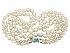 Double Strand Pearl Necklace with 18 ct White Gold and 0.43 ct Diamond Clasp