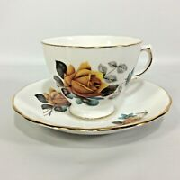 Royal Vale Cabbage Rose Tea Cup Saucer Yellow Gold Edging Bone China England