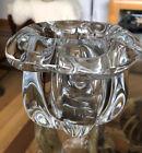 """VTG EDVIN OHRSTROM FOR ORREFORS SWEDEN CE WHITE OPTIC GLASS WATERFALL VASE 5"""""""