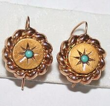 ANTIQUE VICTORIAN FRENCH 18K GOLD LOVE KNOT TURQUOISE HAND MADE EARRINGS c 1880