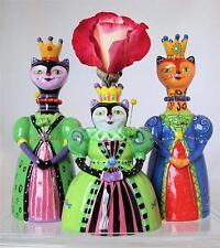 Cat Bud Vase Set of 3 Princess Purrfect Lori Siebert Westland Retired MIB