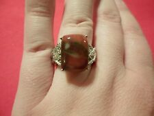 Mookaite Cushion Solitaire in Platinum Overlay-Size 7-8.25 Carats
