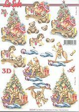 Feuille 3D à découper A4 Arbre de Noël Nounours 8215.447 Decoupage Christmas