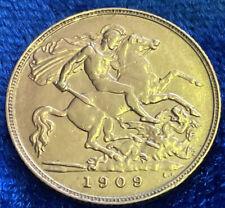 More details for antique gold half sovereign king edward vii 1909