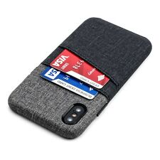 Dockem Luxe iPhone X/XS Wallet Case, Canvas Style Grip PU Leather, 2 Card Slots