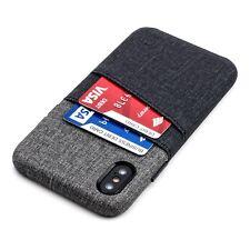 Luxe iPhone X Card Case, PU Leather Slim Wallet 2 pocket, Black & Grey by Dockem