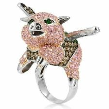 Rabbit Face Shaped 925 Sterling Silver Customized Multi-Color CZ Ring