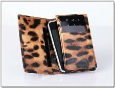 Folio Wallet Case in Sheep Leather in Leopard Skin Design Brown iPhone 4