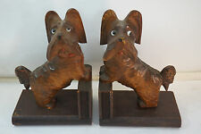 Antique Skye Terrier Silky Dog Bookends Book Ends Anri Wood Carving Carved
