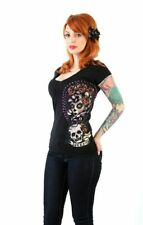 Lucky 13 - SHADOW LADY T-SHIRT, Rockabilly Shirt, V-Ausschnitt, Print