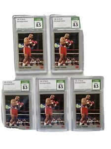 INVESTOR LOT OF 5 HIGH GRADE 1991 All World AW Boxing George Foreman CSG 8.5