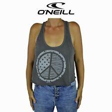Womens O'Neill Capital Crop Peace Surf Summer Sleeveless Top Black Tank O1.8