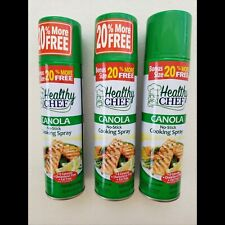 LOT OF 3 Healthy Chef Canola Non Stick COOKING SPRAY FAT FREE 6.OZ