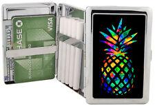 Rainbow Pineapple Silver Metal Cigarette Case Holder RFID Wallet Chrome 100's