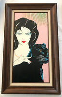 PATRICK NAGEL STYLE ACRYLIC OIL CANVAS PAINTING SIGNED POP ART Panther 24 x 12