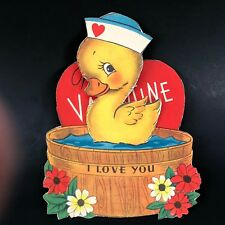 Vtg 40s 50s Duck Tub Valentines Card I Love you Like a Duck Loves Water Greeting