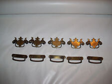 10 Brass Tone Drawer Handles Pulls Lot Set Metal Furniture Rehab Parts