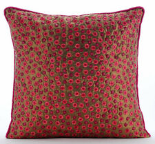 Sofa Cushion Cover Silk Decorative 14 x 14 Gold,Dotted Sequins - Warmth And Love