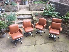 Quality set of 4 Danish/American styled 1970s leather swivel armchairs SALE -15%